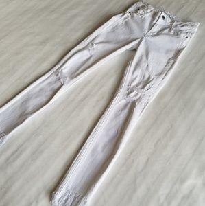 Zara Trafaluc White Distress skinny Jeans